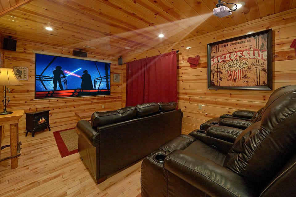 Theater room at Cabins USA in Tennessee