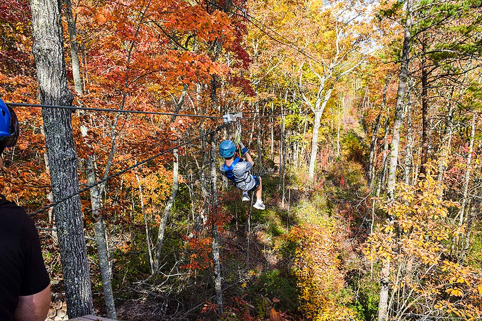 Zip line in the Fall for a great color experience